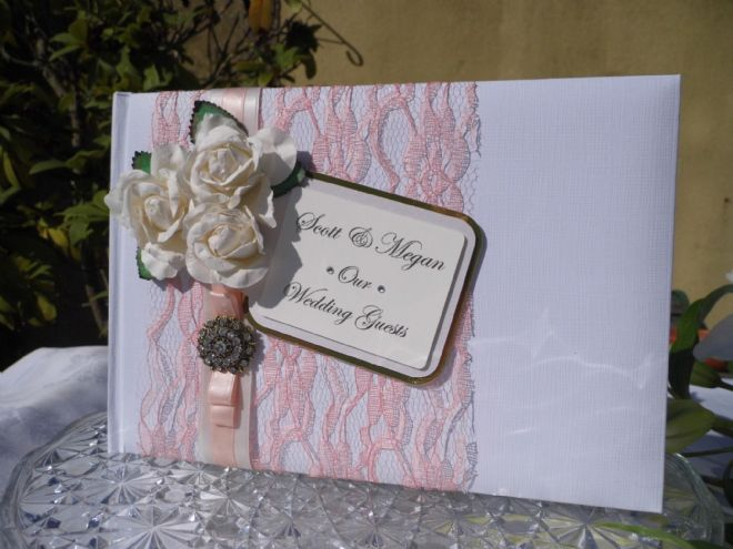 Personalised Wedding Guest Book - Pink blush Lace